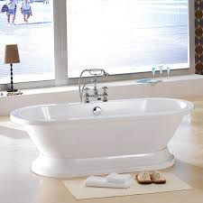 contemporary acrylic bathtub in white with oval shaped and modern