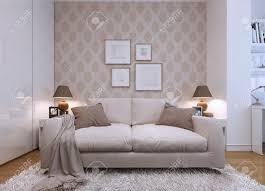 Beige Wand Wohnzimmer Beige Sofa Im Wohnzimmer In Einem Modernen Stil Tapeten An Den