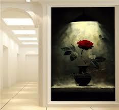 hall painting custom 3d mural custom red rose oil painting mural vase entrance