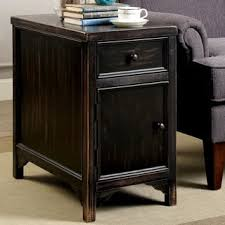 distressed black end table furniture of america cosbin bold antique black side table free