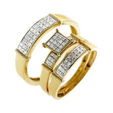Trio Wedding Ring Sets by Mydialand Diamond Trio Wedding Ring Sets In 10k Yellow Gold 0 28 Ctw