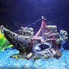 ziomee resin pirate ship for home aquarium ornament