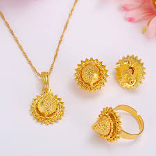 gold jewellery necklace sets images Ethiopian gold jewelry sets earrings pendant ring kenyatraditional jpg