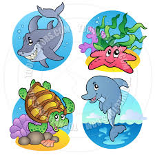 cute sea creatures coloring clipart