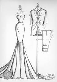 mirror view sketch wedding dress ink