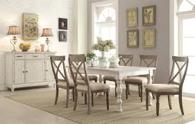 rectangular farmhouse expandable dining table by riverside
