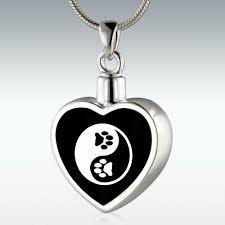 jewelry to hold ashes paw yin yang inlay heart sterling silver memorial jewelry