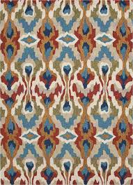 Red Blue Rug Brio Chapan Hand Tufted Tribal Pattern Polyester Blue Red Area Rug