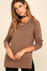 brown sweater brown sweater lace up sweater brown lace up top 42 00