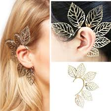 non metal earrings gold metal big leaves earring ear cuff