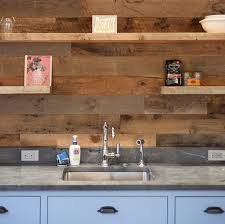 wood backsplash kitchen reclaimed rustic wood paneling in guest cottage anthology woods
