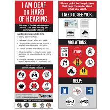 cards assist enforcement drivers with hearing loss northern