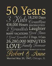 50 year anniversary gift 50th anniversary gift gold anniversary 50 years wedding
