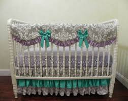 Lavender And Grey Crib Bedding Custom Bumperless Baby Crib Bedding Set Melanie Lavender And