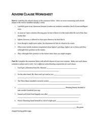 adverb clause worksheet worksheets releaseboard free printable