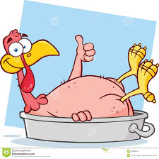 turkey up smiling turkey bird character in the pan giving a thumb up royalty