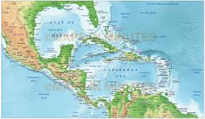 Central America Physical Map by Caribbean Map With Land And Ocean Floor Relief 10m Scale In