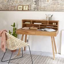 dessous de bureau bureau en bois de teck teck brut bois dessus bois dessous la redoute