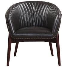 Faux Leather Accent Chair Modern Black Faux Leather Accent Chair With Nail Trim
