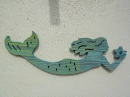 routed wood mermaid wall hanging nautical home bar
