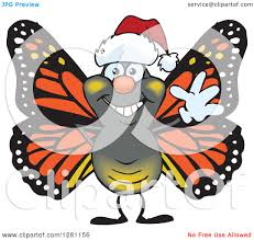 clipart of a friendly waving monarch butterfly wearing a christmas