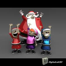 3d santa claus with elves cgtrader