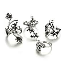 vintage rose rings images Vintage rose flower rings set puro store free shipping worldwide jpg