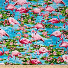 Home Decor Print Fabric Timeless Treasures Flamingos Turquoise Discount Designer Fabric
