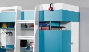 lit avec bureau coulissant combiné lit enfant bleu et blanc avec bureau armoire et dressing