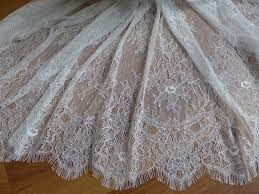 white french chantilly lace fabric elegant floral wedding fabric