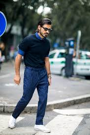 how to wear navy and white vertical striped dress pants 26 looks