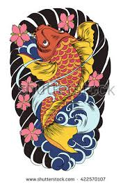 hand drawn outline koi fish tattoo stock vector 587217020