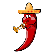 cartoon cinco de mayo red cartoon pepper in a sombrero plays on a pipe holidays cinco de