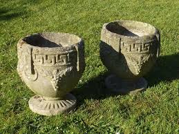 Stone Urn Planter by Stunning Pair Of Vintage Cast Stone Urn Planters Greek Key Detail