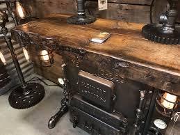 steampunk industrial stove boiler door table peninsular table so