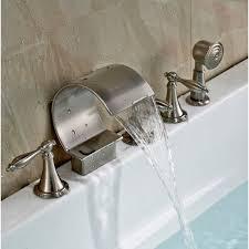 shower attachment for bathtub faucet deck mount brushed bathtub faucet with handheld shower on sale