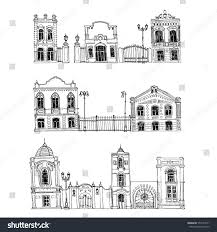 vector set different houses line drawing stock vector 554157271