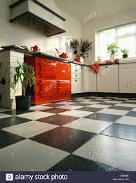 Kitchen Tiles Red Red Aga Oven In White Kitchen With Black U0026 White Ceramic
