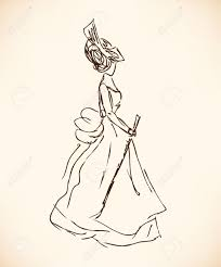 sketch of woman in retro clothes lady in vintage dress hand