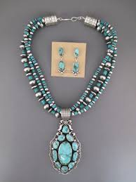 turquoise necklace images Pilot mountain turquoise pendant necklace earring set jpg