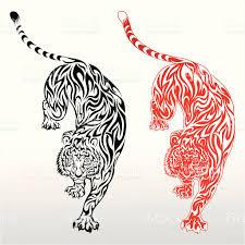 one black tiger design and a tiger design stock