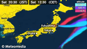 Nuclear Fallout Map by Fukushima Nuclear Disaster Wind Plume Direction Forecast March 17