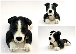 dog cake toppers black and white collie prepared with