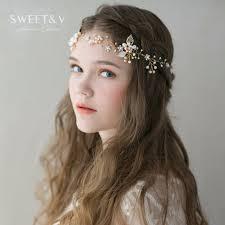 hair decorations light gold bohemian headband crown handmade pearl rhinestone