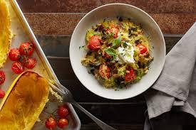 sheet pan spaghetti squash puttanesca recipe epicurious