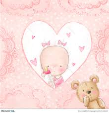 baby shower greeting card baby with teddy background for