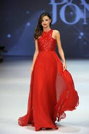 miranda kerr dress sequin jewel neck red chiffon a line evening