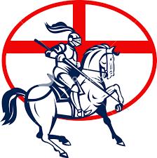 English Flag English Knight Riding Horse England Flag Circle Retro Royalty Free