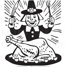 pilgrim black and white clipart