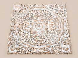 white wash wood carving wall panel wall hanging lotus wood